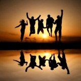 joyful jumping